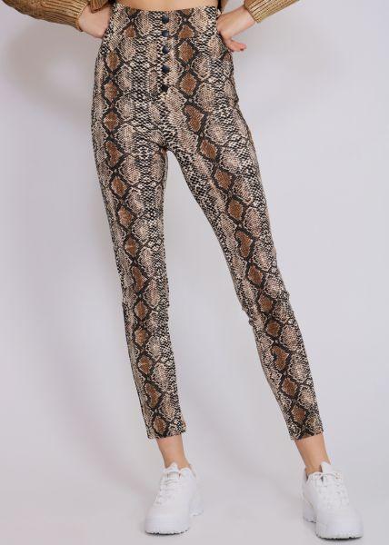 Highwaist Leggings in Snake-Print, braun