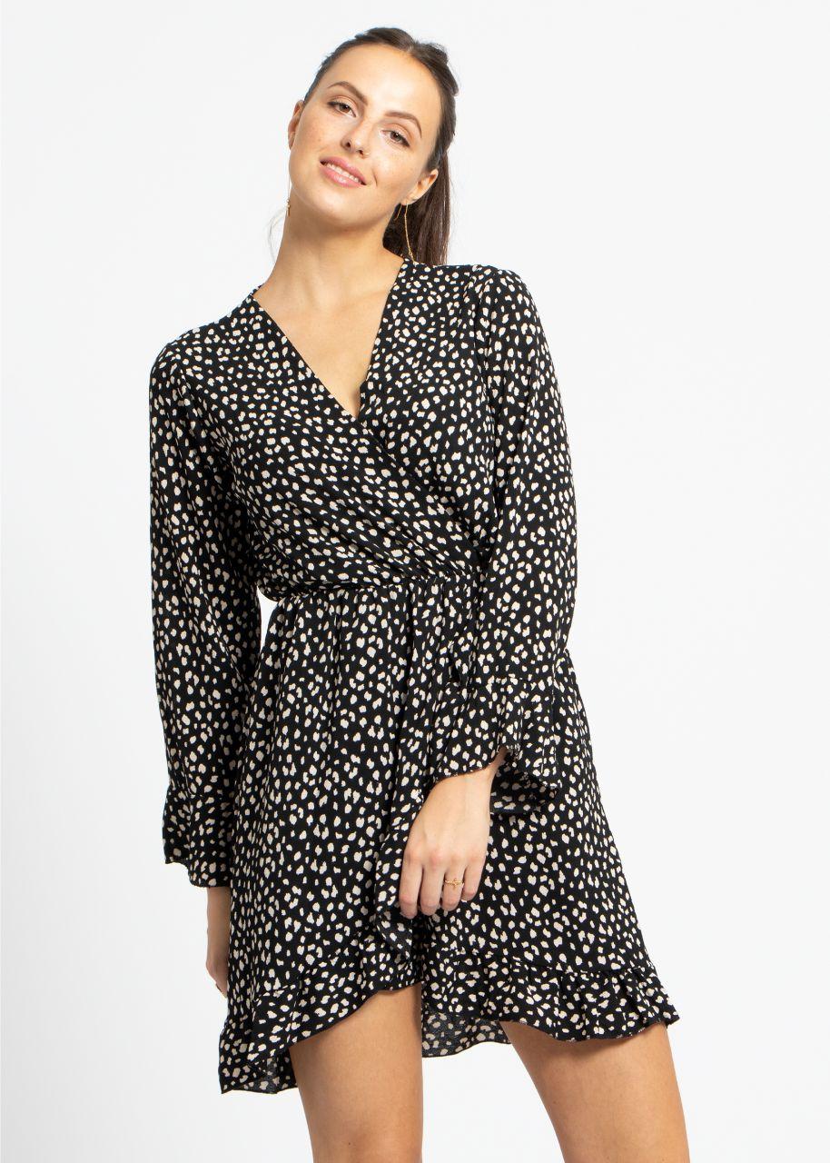 Kleid mit Wickel-Optik und Tupfen-Print, schwarz/weiß