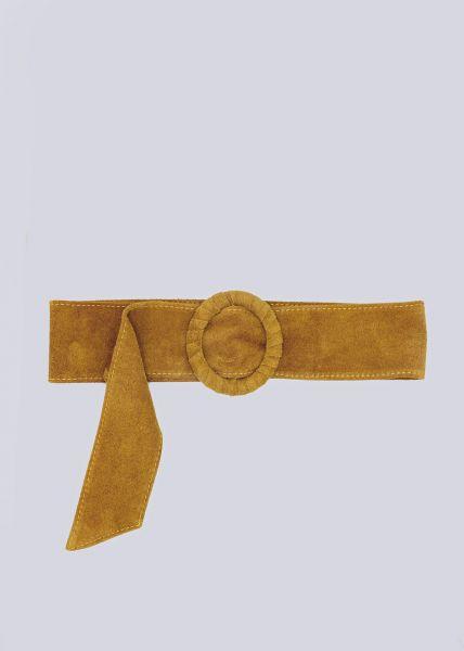Taillengürtel in Veloursleder, gelb