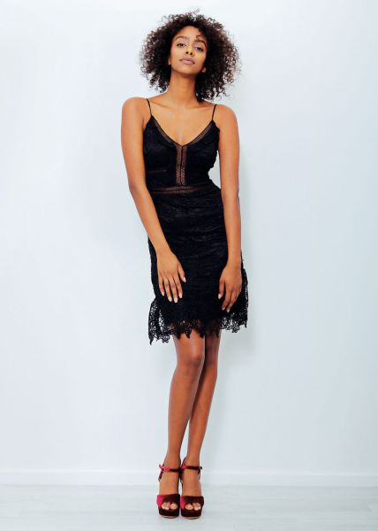 Cocktailkleid aus Spitze, schwarz