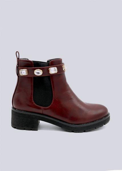 Chelsea-Boots mit schimmernden Schmucksteinen, weinrot