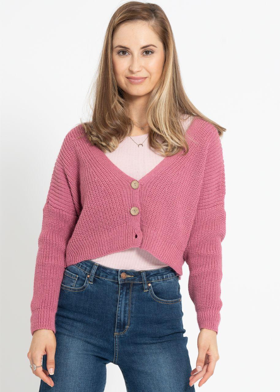 Crop Strickjacke, rosa