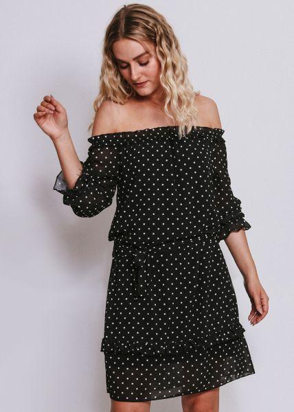 Schulterfreies Tupfen-Kleid, schwarz