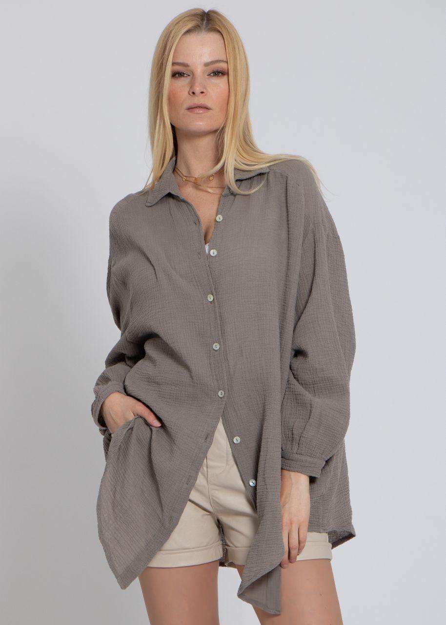 Ultra oversize leicht transparentes Blusenhemd, taupe