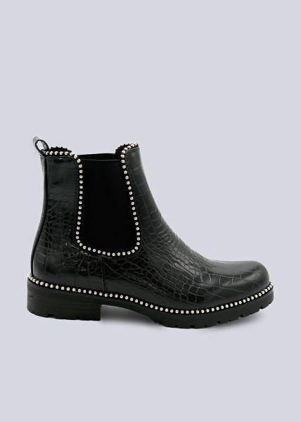 Chelsea-Boots in Kroko-Optik, schwarz
