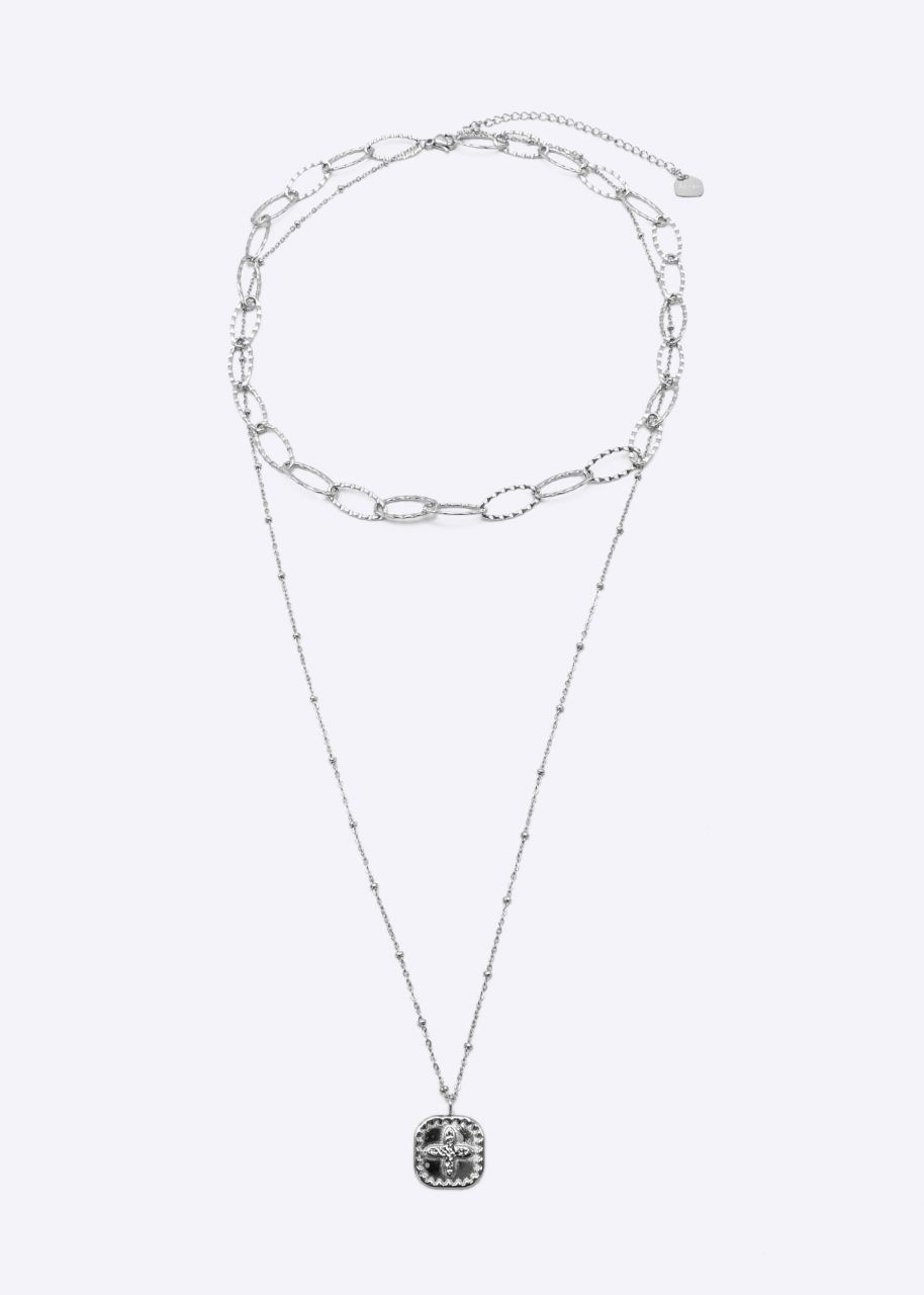 Kombinierte Halskette mit Kreuz, silber