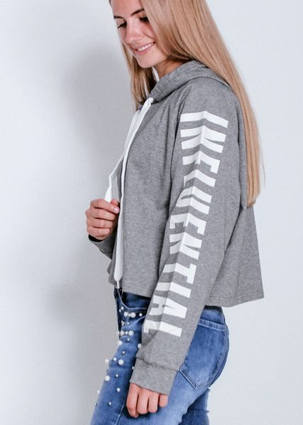 Crop Hoodie mit Schriftzug, grau