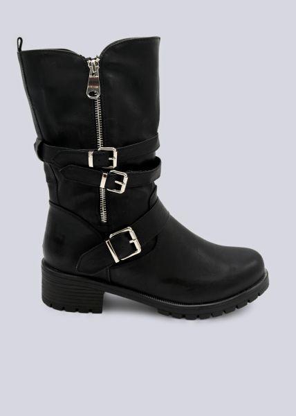 Halbhohe Stiefel mit 3 Schnallen, schwarz