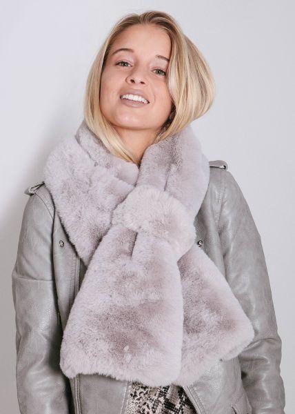 Fake-Fur Schal, grau