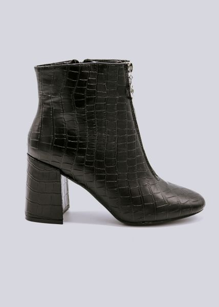 Stiefeletten mit Reißverschluss vorne, schwarz