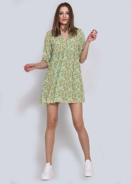 Chiffonkleid mit Blumen-Print, grün