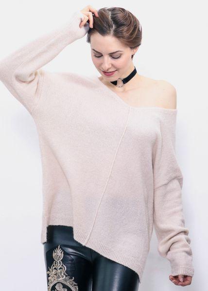 Oversize Pullover, beige