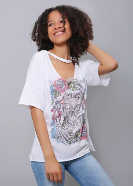 Oversize Choker-Shirt, weiß