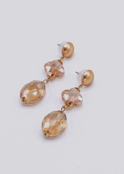 Ohrhänger mit funkelnden Steinen, gold