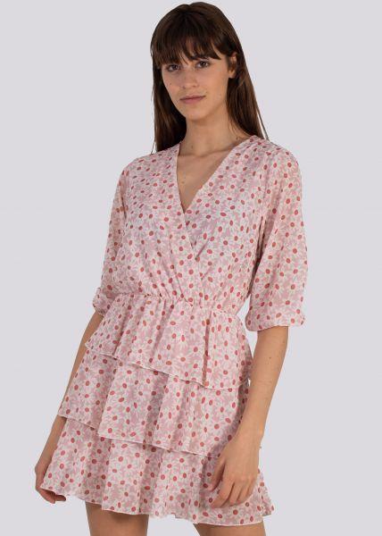 Blumen-Kleid mit Volants-Rock, rosa