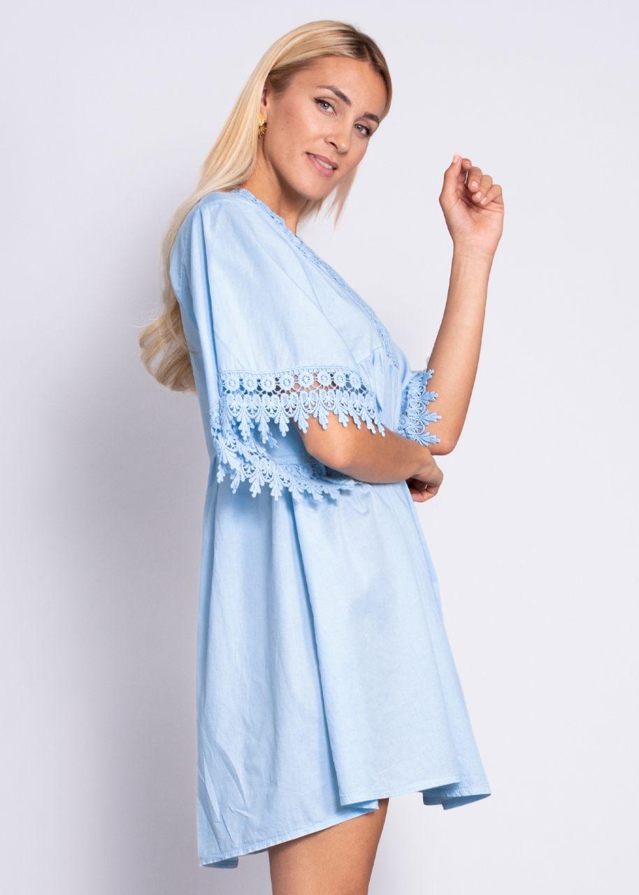 Tunika-Kleid mit Spitze, hellblau