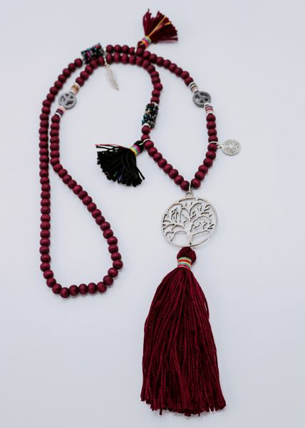 Halskette mit Perlchen und Tassels, weinrot