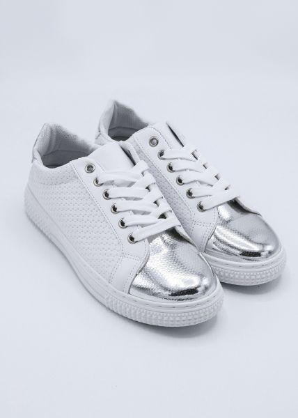 Sneaker mit silberner Kappe, weiß
