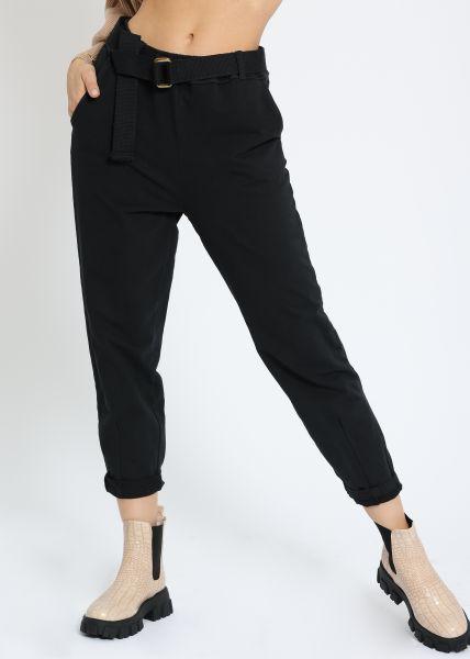 Knöchellange Jersey-Hose, schwarz