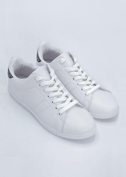 Sneaker mit Glitzersteinen, weiß