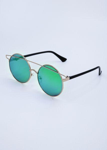 Runde Sonnenbrille mit grün / blau verspiegelten Gläsern
