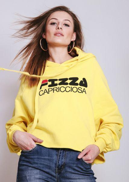 """Hoodie """"PIZZA CAPRICCIOSA"""", gelb"""