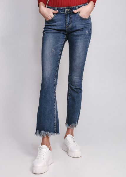 Flare-Jeans mit ausgefranstem Saum, blau