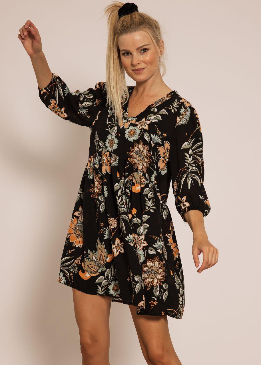 Hängerchenkleid mit Blumen-Print, schwarz