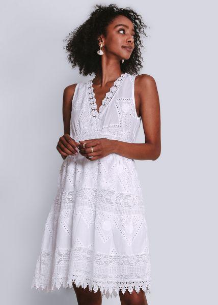 Kleid in bestickter Baumwolle, weiß