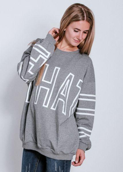 Oversize Sweatshirt mit Schriftzug, grau