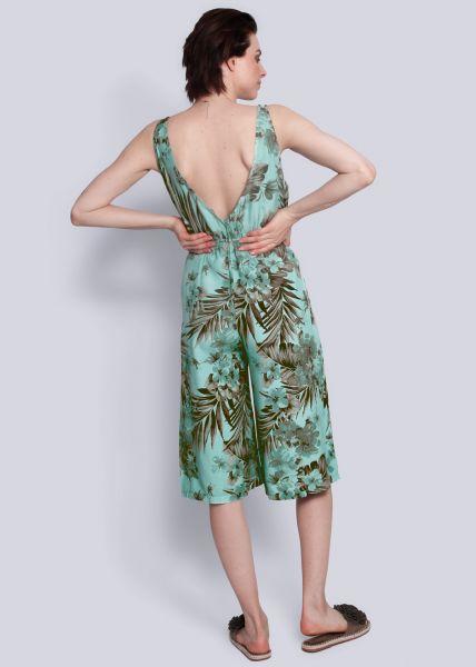 Rückenfreier Jumpsuit mit Blumenprint, grün
