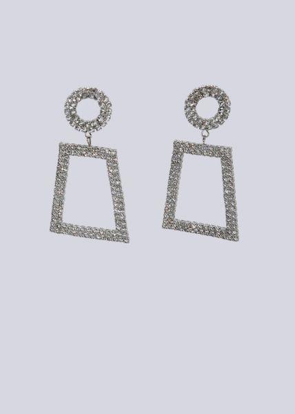 Ohrhänger mit funkelnden Schmucksteinchen, silber