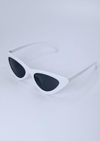 Schmale Cat-Eye Brille, weiß