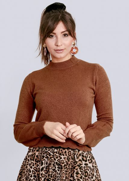 Pullover mit Bogenkante, cognac