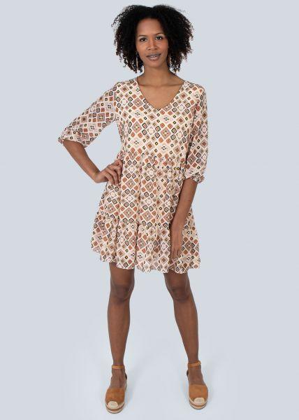 Hängerchenkleid mit Print, beige/braun