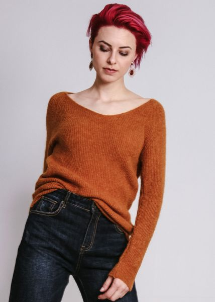 Flausch-Pullover mit V-Ausschnitt, cognac