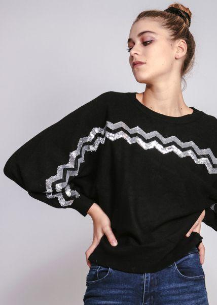 Pullover mit Zick-Zack Muster, schwarz