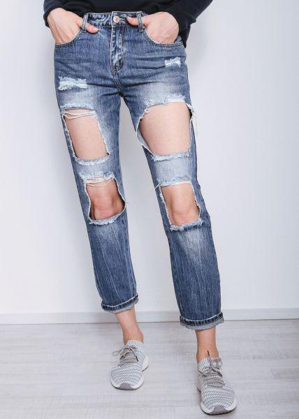 Midwaist Jeans mit großen Löchern