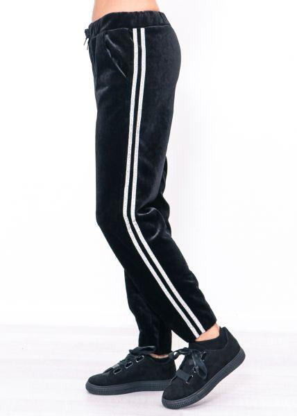 Lounge-Pants aus Samt, schwarz