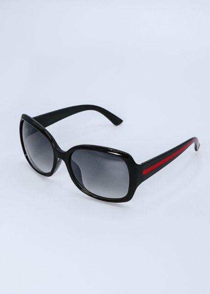 Große Sonnenbrille mit rotem Streifen, schwarz