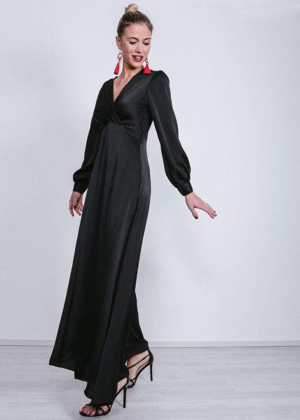Maxi-Kleid aus Satin, schwarz