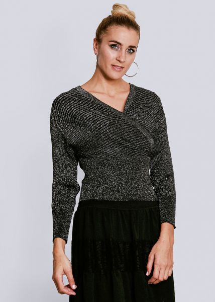 Lurex Pullover in Wickel-Optik, schwarz