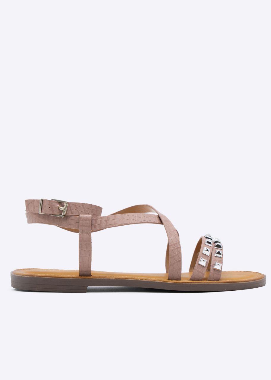 Sandalen mit Nieten, rosa