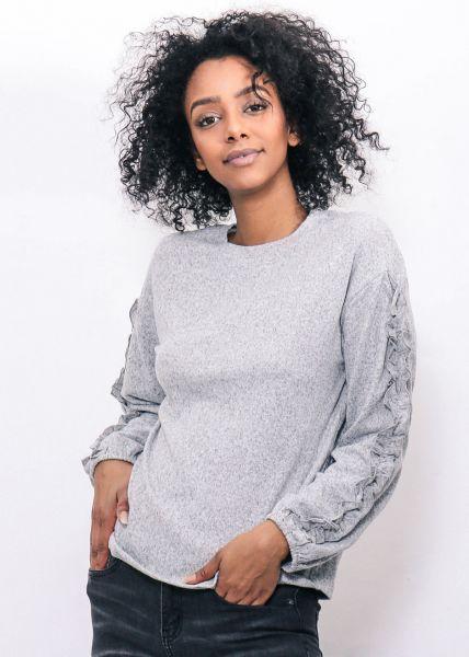 Sweatshirt mit Rüschenärmeln, grau