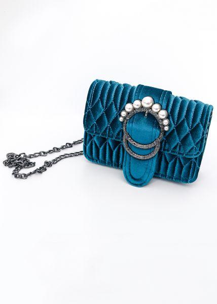 Samttasche mit Perlenverschluss, blau