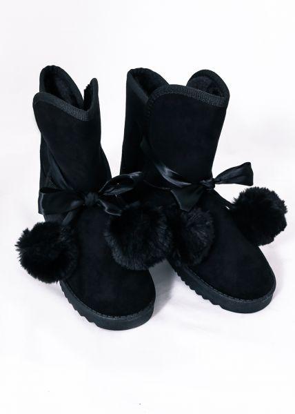Fell-Boots mit Bommeln, schwarz