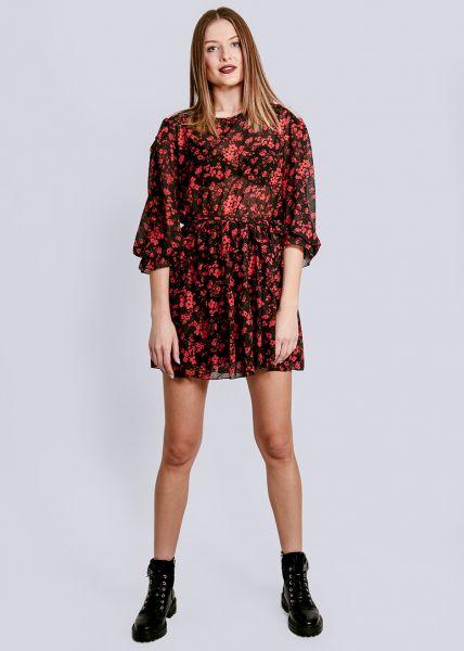 Kurzes Volants-Kleid mit Blumen-Print, schwarz/rot