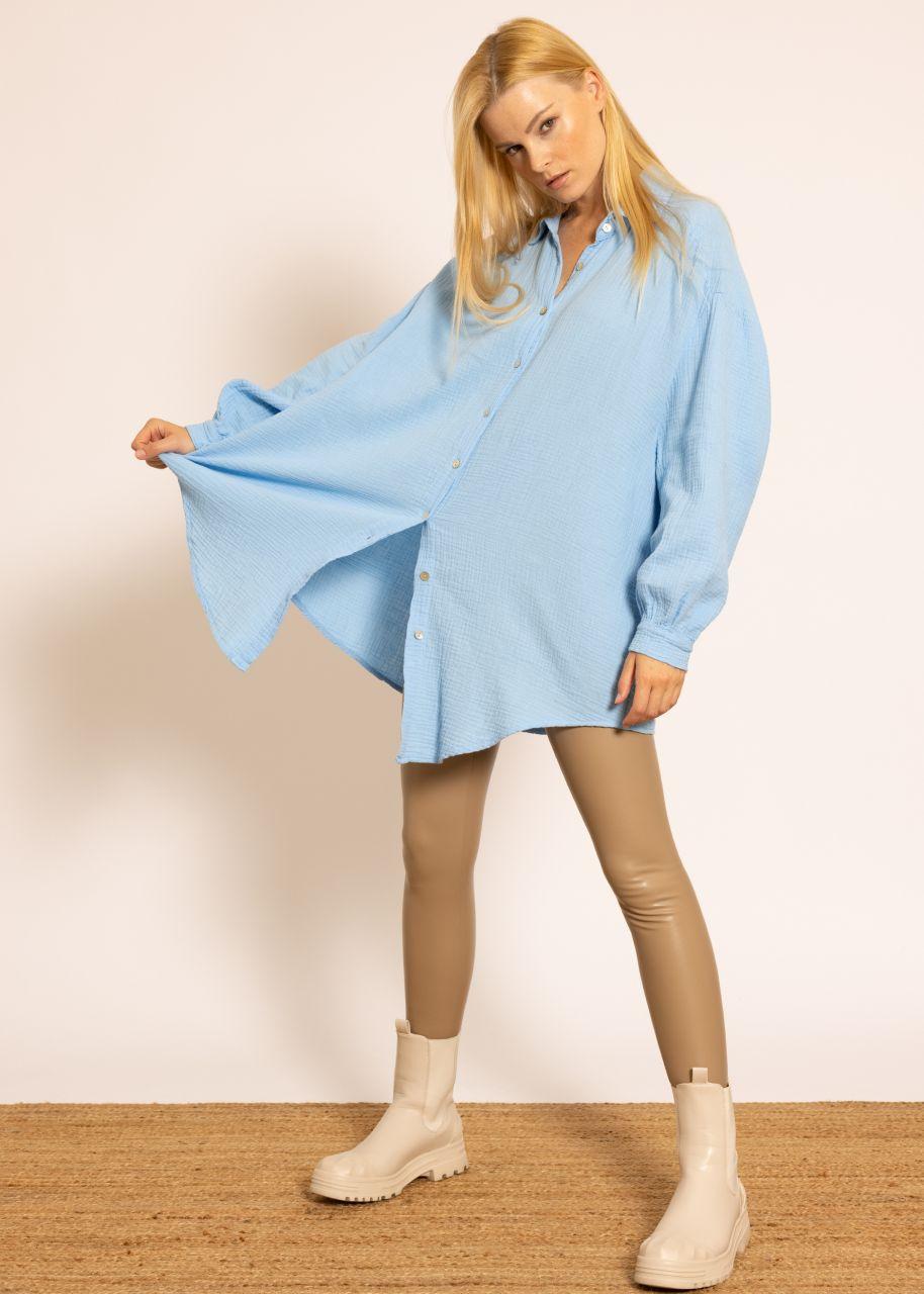 Ultra oversize Blusenhemd, hellblau