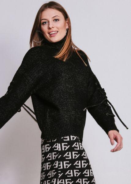Pullover mit Schnürung am Arm, schwarz
