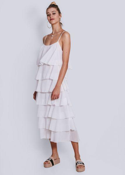Volants-Kleid, weiß